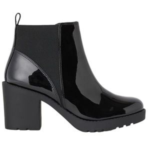 H&M Black Patent Ankle Boots With Block Heel